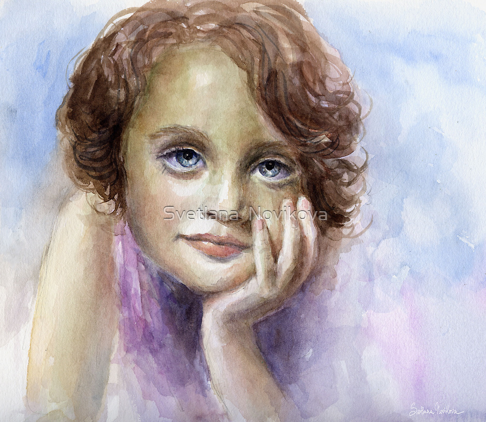 Watercolor Young girl child painting SvetlanaNovikova by Svetlana  Novikova