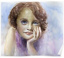 Watercolor Young girl child painting SvetlanaNovikova Poster