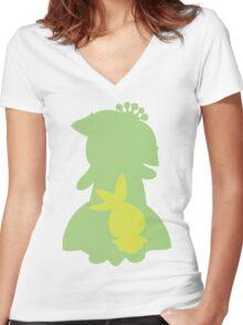 PKMN Silhouette - Petilil Family Women's Fitted V-Neck T-Shirt