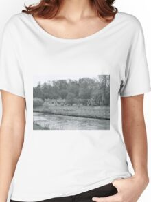 Early Spring in England Black and White Women's Relaxed Fit T-Shirt