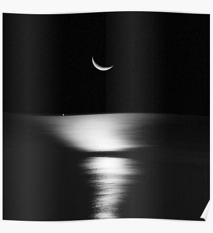 Moonrise Over Atlantic Poster