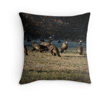 Flock Of Wild Turkeys Throw Pillow