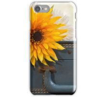 Bouquet of mums sitting on a vintage suitcase iPhone Case/Skin