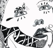 Zentangle Mysterious woman looking up  Sticker