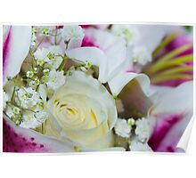Close up of a bouquet of roses, lilies and other flowers Poster