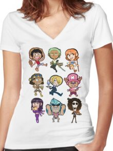 The Straw Hat Crew Women's Fitted V-Neck T-Shirt