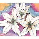 White lilies by Santie Amery