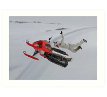 Snowmobile Tricks Art Print
