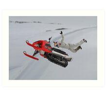 Snowmobile Tricks Art Print