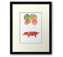 Sausage Dog Around the World - Orange Framed Print