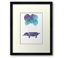 Sausage Dog Around the World - Blue Framed Print