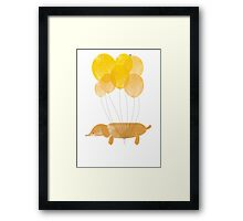 Sausage Dog Around the World - Yellow Framed Print