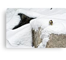 Hiker on snowy cliff Metal Print