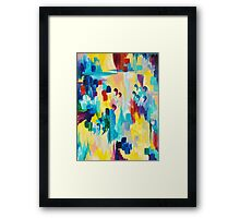 DONT QUOTE ME Whimsical Rainbow Ikat Chevron Abstract Acrylic Painting Magenta Plum Turquoise Gift Framed Print