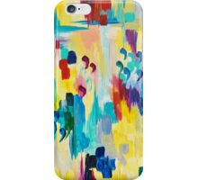 DONT QUOTE ME Whimsical Rainbow Ikat Chevron Abstract Acrylic Painting Magenta Plum Turquoise Gift iPhone Case/Skin