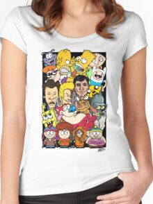 Cartoons Color Women's Fitted Scoop T-Shirt