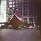 red cube in new york by David  Anderson