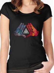 Space Illuminati Hands Diamond Women's Fitted Scoop T-Shirt