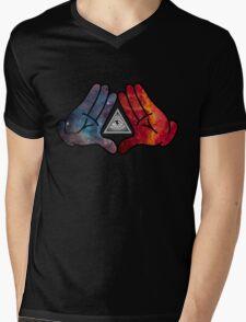 Space Illuminati Hands Diamond Mens V-Neck T-Shirt