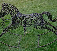 Wrought Iron Rocking Horse by Gabrielle  Lees