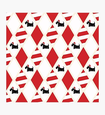 Scottie Dog Christmas Pattern Photographic Print