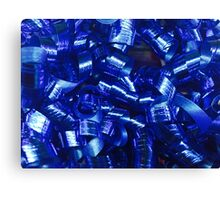 Blue Curly Ribbons Canvas Print