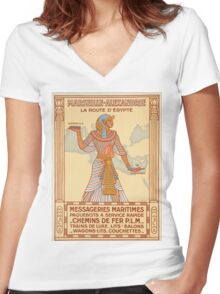 Vintage poster - Egypt Women's Fitted V-Neck T-Shirt