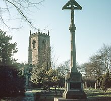 Crucifix in graveyard St Oswald's Durham 198101040025m  by Fred Mitchell
