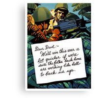 Soldier's Letter Home To Dad -- WW2 Canvas Print