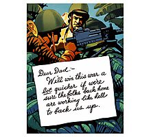 Soldier's Letter Home To Dad -- WW2 Photographic Print