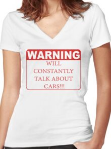 warning cars Women's Fitted V-Neck T-Shirt