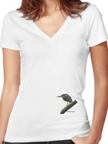 Striated Heron Women's Fitted V-Neck T-Shirt