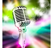 microphone on stage Photographic Print