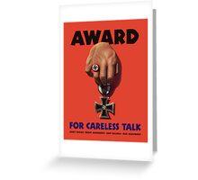 Award For Careless Talk -- WWII Greeting Card