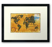 world map on old postcard Framed Print