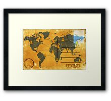 world map on old postcard Framed Print