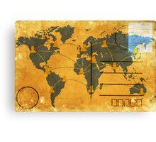 world map on old postcard Canvas Print