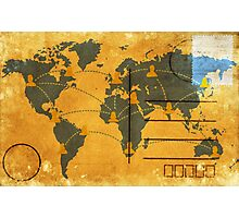 world map on old postcard Photographic Print