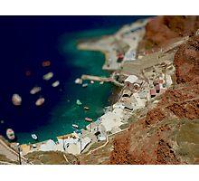 Santorini Harbour in miniature Photographic Print