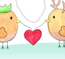 Christmas Love Birds Sticker