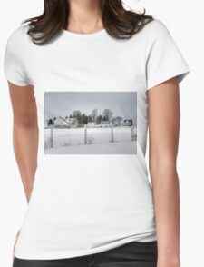 White Farm on a Gray Winter Day Womens Fitted T-Shirt