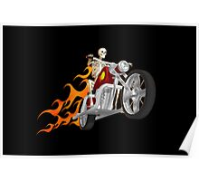 Skeleton Biker with Fire Graphics Poster