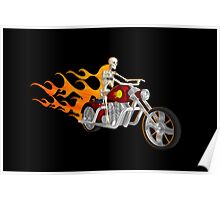 Skeleton Biker with Flame Graphics Poster