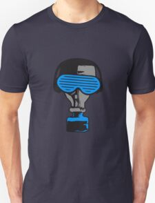 party music in headphones glasses funky gas mask celebrate dj club T-Shirt