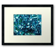 Teal Curly Ribbons Framed Print