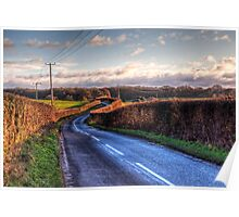 A country lane in Winter, near Winchester, Hampshire Poster