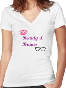 Beauty & Brains Women's Fitted V-Neck T-Shirt