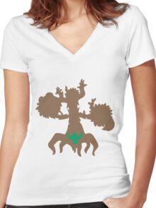PKMN Silhouette - Phantump Family Women's Fitted V-Neck T-Shirt