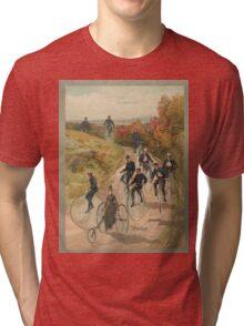 Antique Bicycling Print Tri-blend T-Shirt