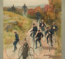 Antique Bicycling Print by avots